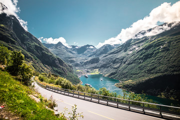 Recess Fitting Gray traffic Mountain landscape of Geiranger in Norway