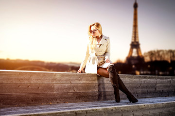 Slim young woman and autumn time in Paris.