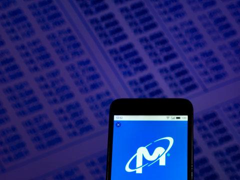 Kiev, Ukraine, December 2, 2018, illustrative editorial. Micron Technology Corporation logo seen displayed on smart phone..
