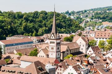 Schaffhausen, Münster, Kirche, Altstadt, Altstadthäuser, Stadt, Ostschweiz, Rhein, Sommer, Schweiz