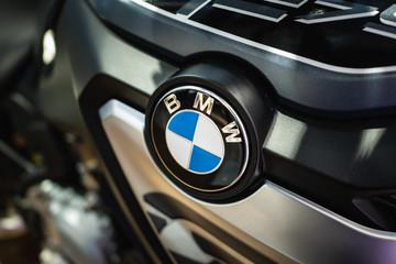 Bangkok, Thailand - February 13, 2019: BMW logo on motorcycle.