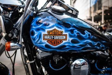 Bangkok, Thailand - February 13, 2019: Harley-Davidson logo on motorcycle.