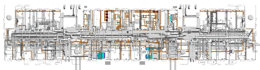 Top view of BIM model conceptual visualization of the utilities of the building