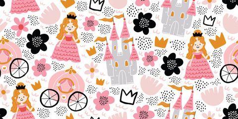 Childish seamless pattern with princess, castle
