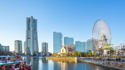 Wall Mural - Time lapse video of Yokohama skyline in Japan