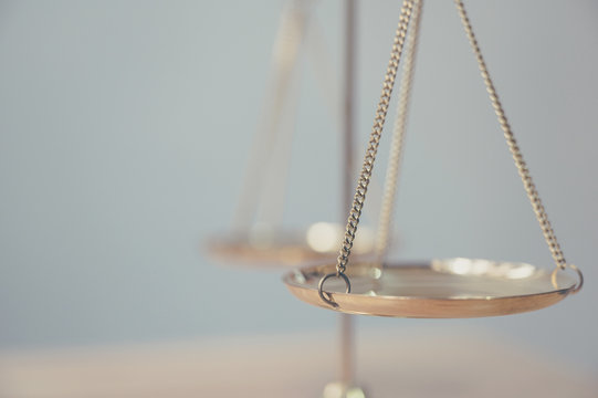 Law and justice, Legality concept, Close up of scales symbol of Justice