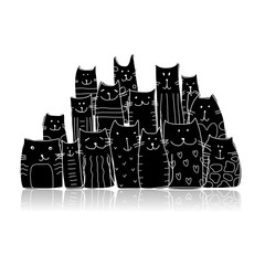 Black cats, sketch for your design