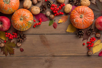 Whole decorative little raw pumpkin on dark wooden background, harvest, atmospheric picture of autumn. Rowan, dry leaves, season. Background with copy space