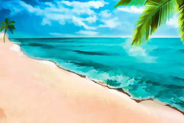 Ocean and white sand paints;