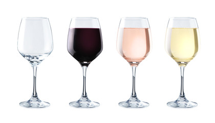 Spoed Foto op Canvas Alcohol Variety of crystal glasses on white background