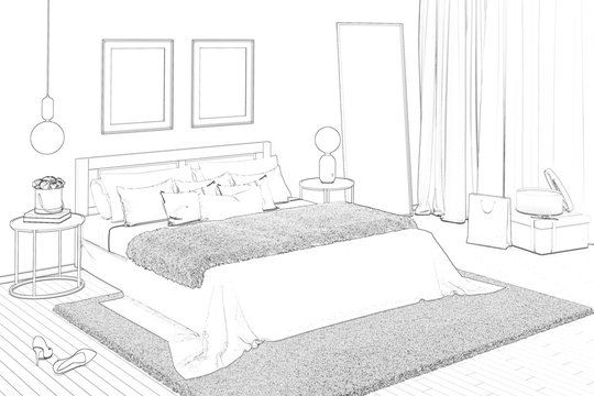 3d illustration. Sketch of charming women's bedroom with paintings