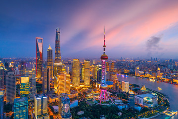 Aerial view of Shanghai skyline at night,China.
