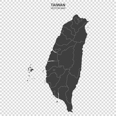 vector map of Taiwan on transparent background