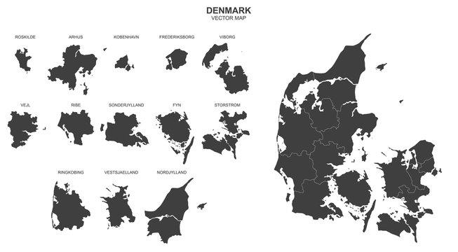 vector map of Denmark on white background