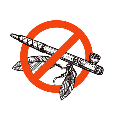 Stop smoking vector sign with sketch hand drawn indian peace pipe