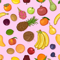 Vector Seamless Pattern of Cartoon Exotic Fruits