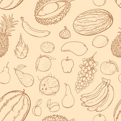 Vector Seamless Pattern of Brown Sketch Fruits