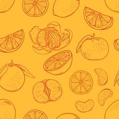 Vector Seamless Pattern of Sketch Citrus Fruit on Orange Background