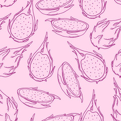 Vector Seamless Pattern of Sketch Dragon Fruits