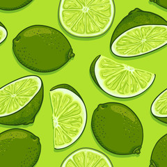 Vector Seamless Pattern of Limes