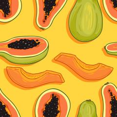 Vector Seamless Pattern of Papaya Fruits