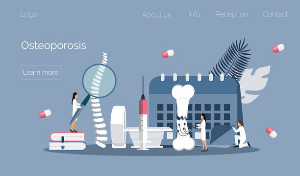 Osteoporosis world day concept, osteoarthritis anatomical vector. Tiny doctors research bones of human. Joint pain