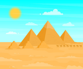 Poster Turkoois Egyptian Pyramids Travel and Tourism Concept on a Desert Landscape Background Scene. Vector