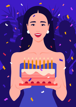 Happy girl holding a cake with candles in her hands. Birthday party. Celebration. Vector flat illustration