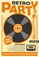 Obraz Retro party poster template with vinyl record and audio cassette tape. Disco music and dance event promotion. Musical vector illustration. - fototapety do salonu