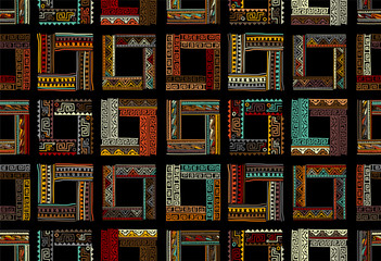 Abstract ethnic frames, seamless pattern for your design