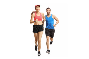 Young man and woman jogging