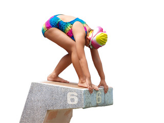 Isolated picture of girl was start to swimming competition on the jump platform with white background