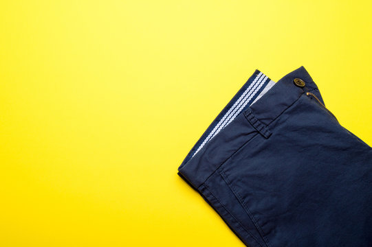 Fashion men's clothing and accessories in casual style flat lay, colorfull background, copy space