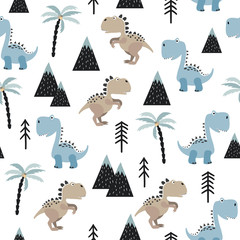Seamless pattern with cute dinosaurs. Vector dino background for kids in scandinavian style.