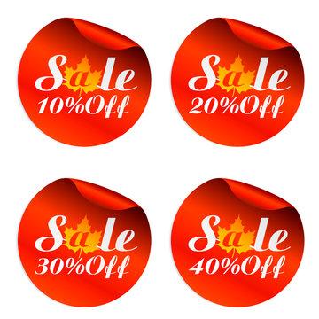 Autumn sale stickers set 10%, 20%, 30%, 40% off.Vector illustration