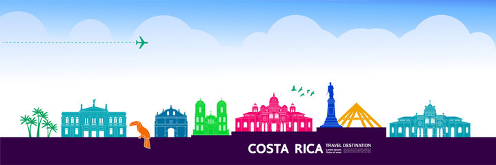 Fototapete - Costa Rica travel destination grand vector illustration.