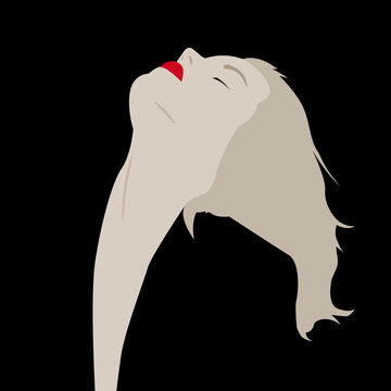 Woman with red lips and closed eyes