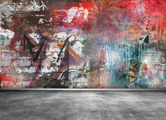 Foto op Canvas Graffiti Graffiti wall grunge background