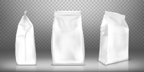 White blank plastic or foil pack realistic vector. Bag or pouch for snacks, sweets and coffee, front and side view, illustrations isolated on transparent background, mock up for packaging design