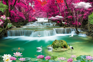 Stores photo Olive 3d nature waterfall and sea tree wallpaper