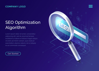 SEO, search engine optimization algorithm, concept vector isometric illustration. Large magnifying glass for monitoring and analyzing data, blue landing website page, interface template