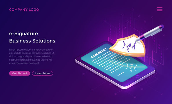Electronic signature business solution concept vector isometric illustration. Online signing of contract on digital tablet screen, shield and stylus pen, purple landing web page for application