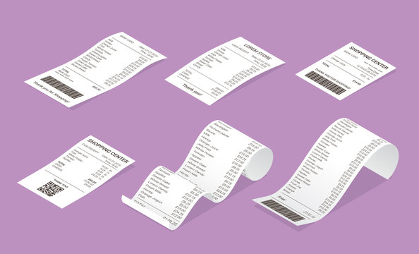 Isometric shop receipt set of realistic isolated vector illustrations. Direct and curled paper payment bills with barcode, goods and their price for credit card or cash transaction