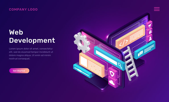 Web development isometric concept vector illustration. Software landing page template for creating customize website design, interface, computer monitor with 3D icons on ultraviolet background
