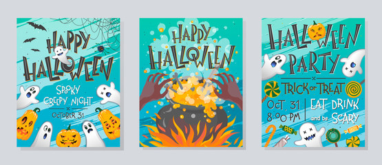 Set of Halloween posters with pumpkins,ghosts,sweets,witch cauldron and spider web.Halloween design perfect for prints,flyers,banners invitations,greetings.Vector Halloween illustrations.