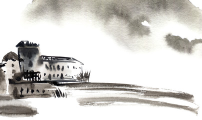 Watercolor landscape sketch