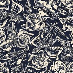 Vintage monochrome tattoos seamless pattern
