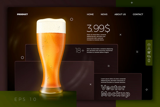 Vector realistic 3d beer glass on bright modern site template with typographic background. Mock-up for product package branding.
