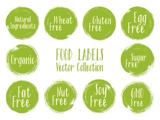Vector organic labels, natural ingredients emblems, sugar free icon for natural products packaging.