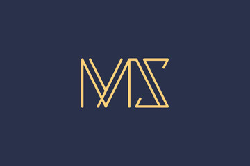 Creative Innovative Initial Letter logo MS SM. Minimal luxury Monogram. Professional initial design. Premium Business typeface. Alphabet symbol and sign.